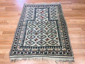 "Beautiful Balouch - 1930s Antique Prayer Rug - Tribal Ivory Carpet - 2'11"" x 4' ft."