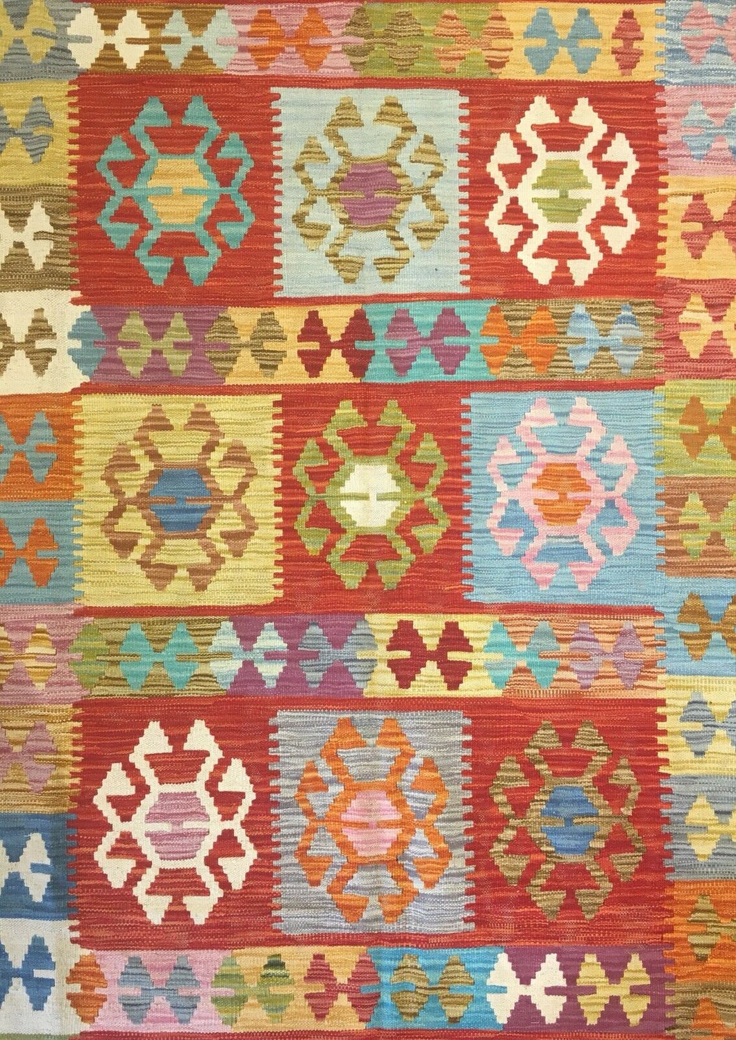 Crisp Colorful - New Kilim Rug - Flatweave Tribal Carpet - 6'6