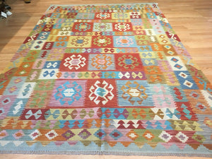 "Crisp Colorful - New Kilim Rug - Flatweave Tribal Carpet - 6'6"" x 9'10"" ft."