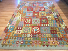 "Load image into Gallery viewer, Crisp Colorful - New Kilim Rug - Flatweave Tribal Carpet - 6'6"" x 9'10"" ft."