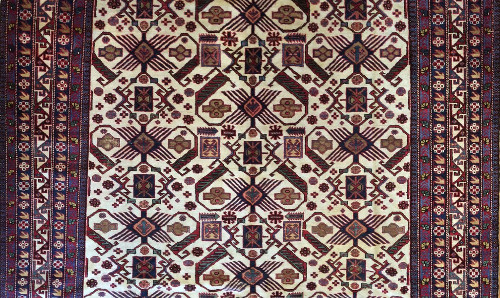 "Sensational Shirvan - 1940s Antique Ardebil Rug - Tribal Caucasian - 7'8"" x 11'2"" ft."