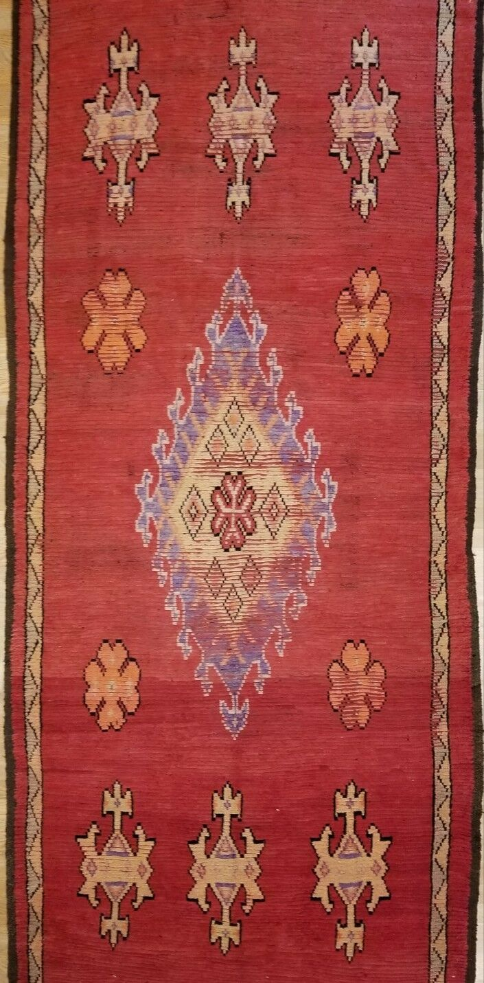 Marvelous Moroccan - 1900's Antique Gallery Berber Red Rug - 5'6