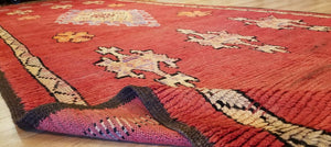 "Marvelous Moroccan - 1900's Antique Gallery Berber Red Rug - 5'6"" x 16' ft."
