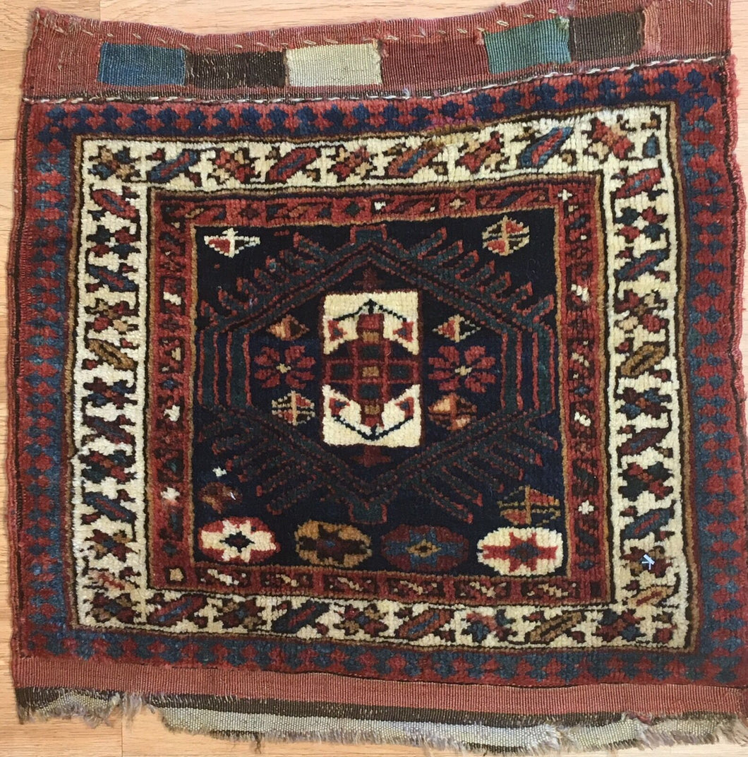 Jovial Jaff - 1900s Antique Kurdish Tribal Rug - Bag Face Carpet -1'8