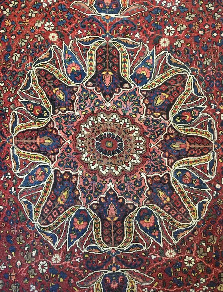 "Beautiful Bakhtiari - 1910s Antique Persian Rug - Tribal Carpet - 10'5"" x 12'5"" ft."