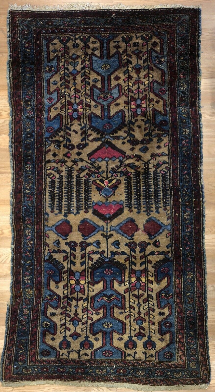 Special Serab - 1920s Antique Camel Hair Rug - Tribal Carpet - 3'4