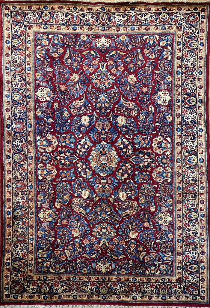 "Special Sarouk - 1920s Antique Persian Rug - Tribal Carpet - 6' x 8'7"" ft."