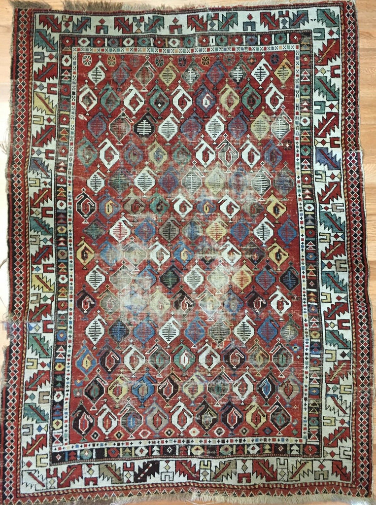 "Special Shirvan - 1900s Antique Caucasian Rug - Tribal Carpet - 3'10"" x 5'2"" ft."