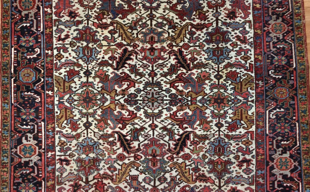 "Handsome Heriz - 1920s Antique Persian Rug -Tribal Carpet - 8'1"" x 10'10"" ft."