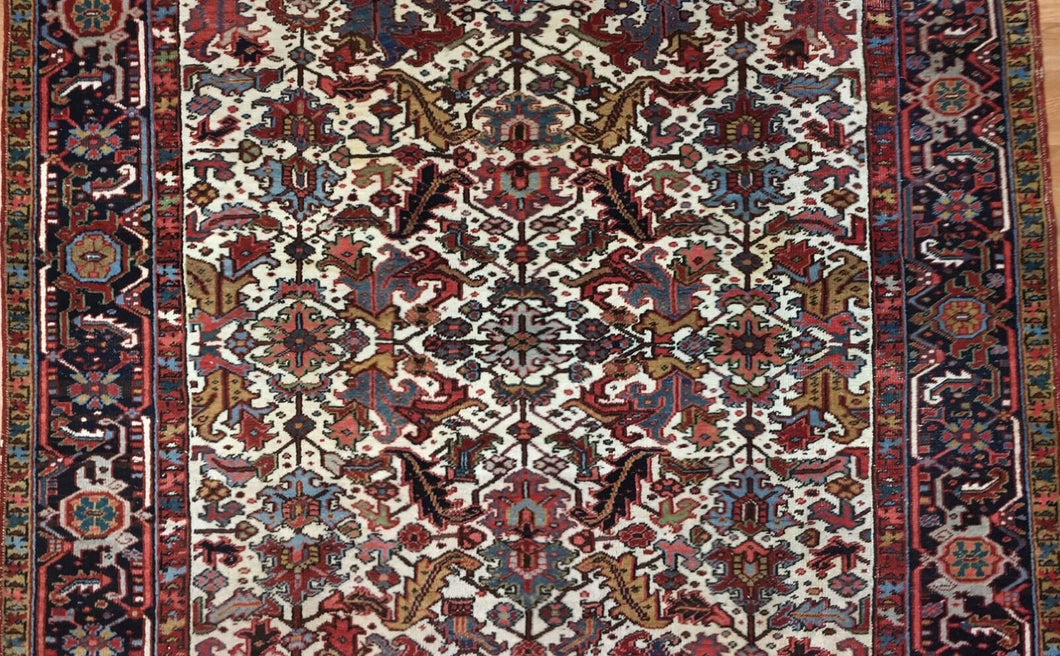 Handsome Heriz - 1920s Antique Persian Rug -Tribal Carpet - 8'1