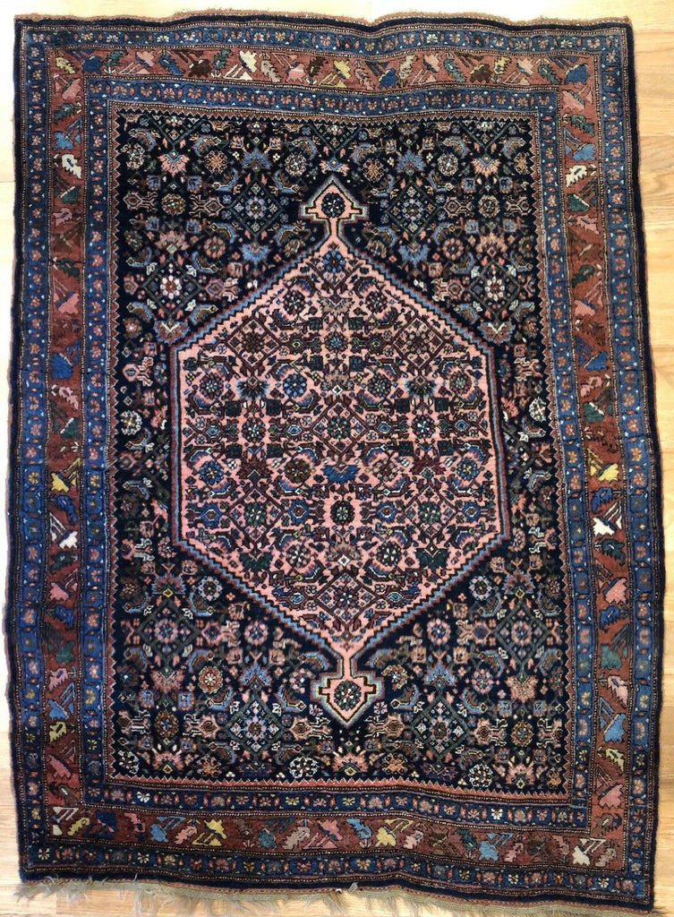 "Beautiful Bijar - 1910s Antique Kurdish Rug - Tribal Carpet - 3'11"" x 5'4"" ft."