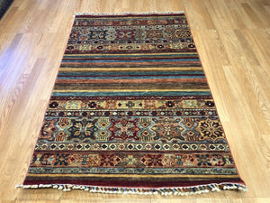 "Amazing Afghan - Super Kazak Rug - Tribal Jajim Carpet - 3'3"" x 4'10"" ft."