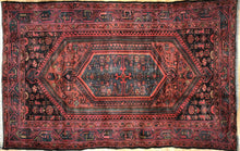 "Load image into Gallery viewer, Handsome Hamadan - 1940s Antique Persian Rug - Tribal Carpet - 4'4"" x 6'9"" ft."