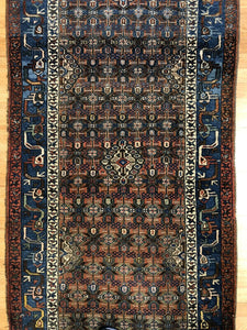 "Special Serab - 1900s Antique Persian Runner - Camel Hair Rug - 3'4"" x 9'7"" ft."