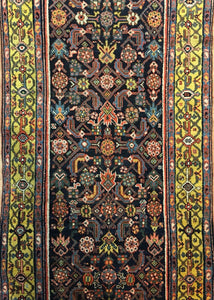 "Majestic Malayer - 1900s Antique Persian Rug - Tribal Runner - 3'1"" x 11'1"" ft."