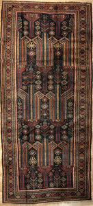 "Handsome Hamadan - 1940s Antique Persian Rug - Tribal Runner - 3'8"" x 8' ft."