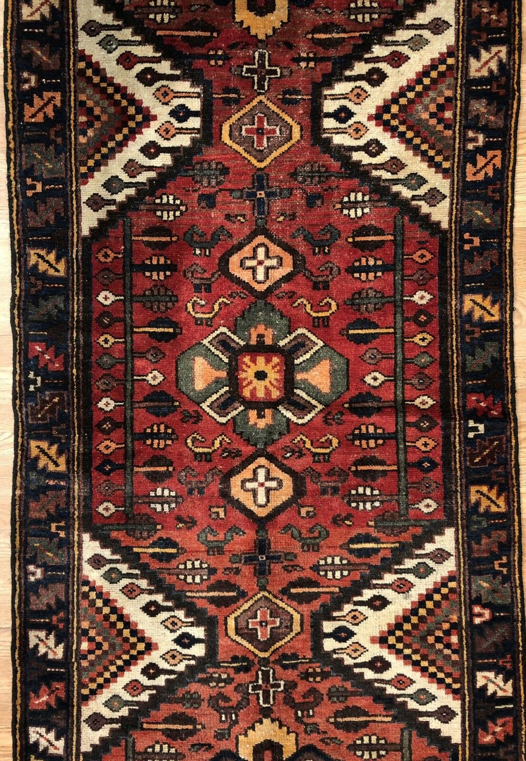 Handsome Hamadan - 1930s Antique Persian Rug - Tribal Runner - 3'6