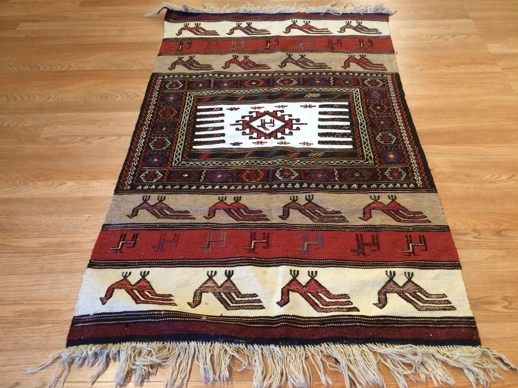 "Terrific Tribal - 1960s Vintage Kurdish Kilim - Persian Rug - 3' x 4'11"" ft."