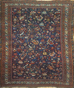"Quality Qashqai  - 1890s Antique Shiraz Rug - Tribal Carpet - 4'4"" x 5'1"" ft."