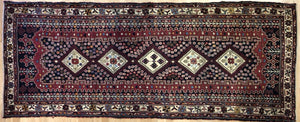 "Special Shiraz - 1940s Antique Persian Rug - Tribal Runner - 3'5"" x 8'7"" ft."