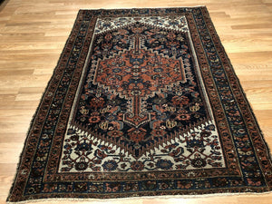 "Handsome Hamadan - 1920s Antique Persian Rug - Tribal Carpet - 4'5"" x 6'2"" ft."