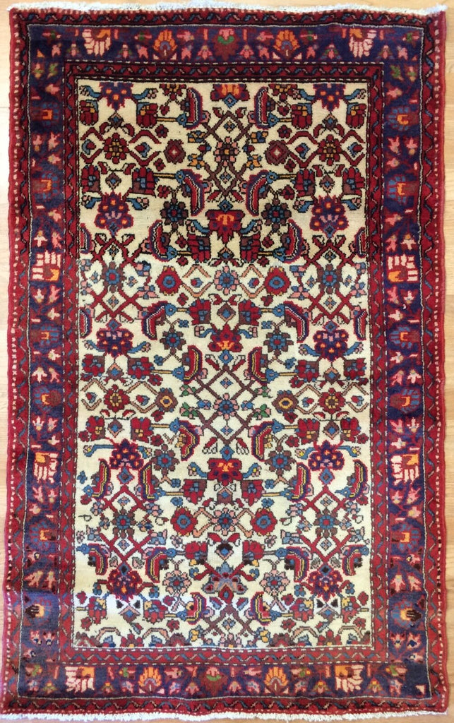 "Handsome Hamadan - 1930s Antique Persian Rug - Tribal Carpet - 3' x 4'9"" ft."
