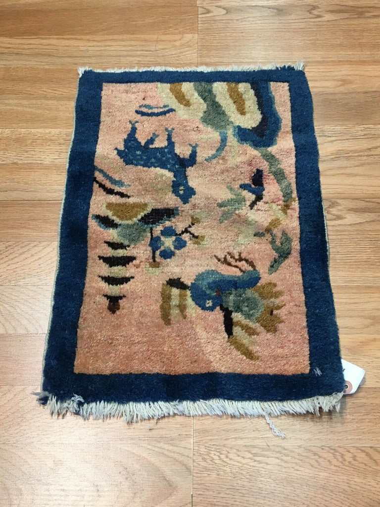 "Antique Art Deco - 1910s Art Nouveau Rug - Chinese Oriental Carpet - 1'2"" x 1'8"" ft"
