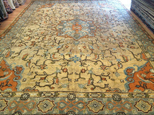 Marvelous Moroccan - 1900s Antique Oushak Rug - Tribal Traditional - 12' x 18' ft.