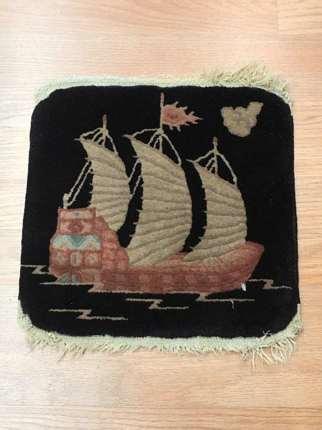 Natural Nichols - 1920s Antique Chinese Rug - Art Deco Square Boat - 1'1