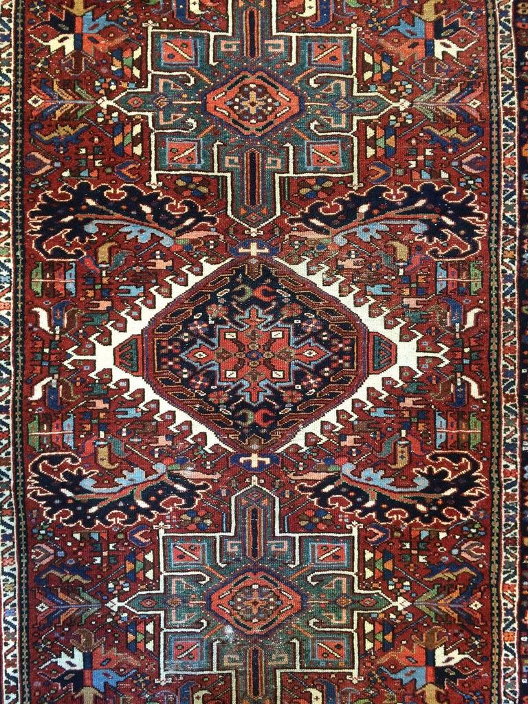 "Handsome Heriz - 1900s Antique Karaja Rug - Runner Gallery - 4'10"" x 12'2"" ft."