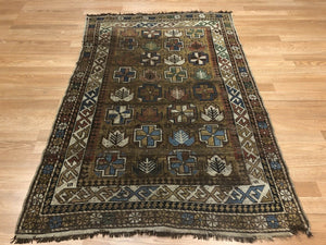 "Classic Caucasian Carpet - 1980s Antique Tribal Rug - 3'3"" x 4'10"" ft."