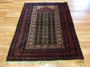 Beautiful Balouch - 1940s Antique Persian Rug - Tribal Carpet - 3' x 5' ft.