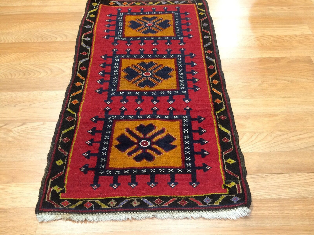 "Youthful Yastik - 1930s Antique Turkish Rug - Tribal Oriental Carpet 1'8"" x 3'2"" ft."