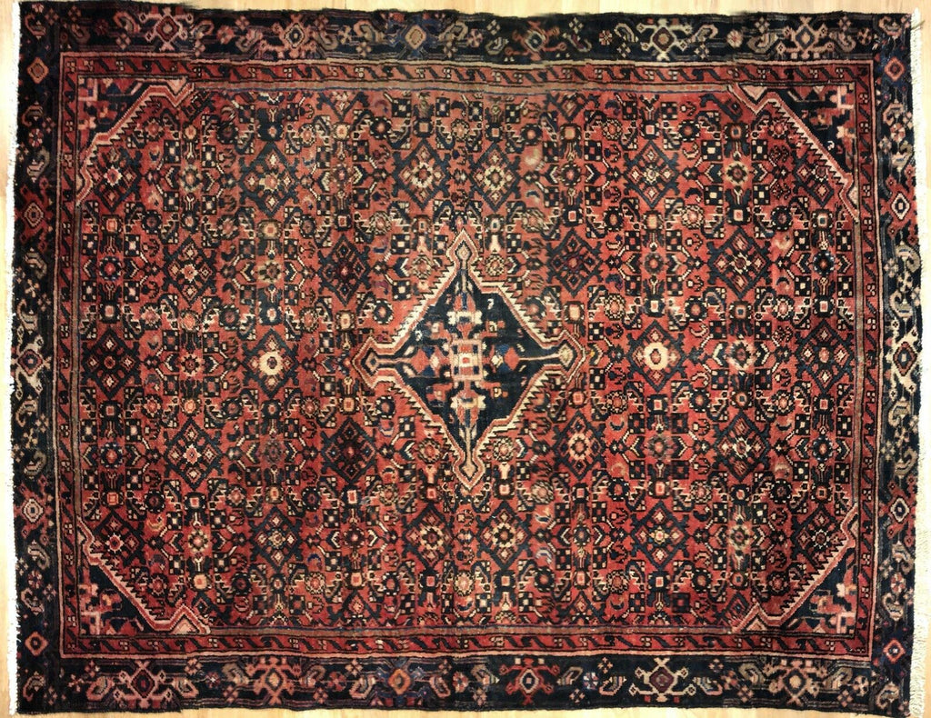 "Handsome Hamadan - 1940s Antique Persian Rug - Tribal Carpet - 4'10"" x 6'3"" ft."