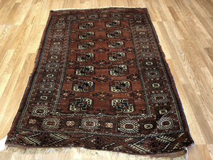 "Tremendous Turkmen - 1920s Tekke Gul Bokhara Rug - Tribal Carpet - 3'7"" x 5'4"" ft"