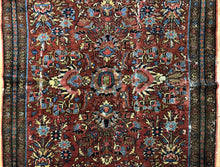 "Load image into Gallery viewer, Handsome Hamadan - 1920s Antique Persian Rug - Tribal Carpet - 4' x 6'3"" ft."