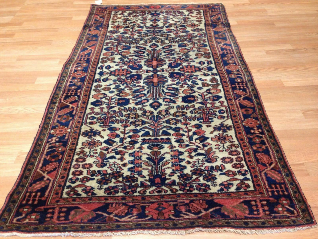 Lovely Lilihan - 1920s Antique Sarouk Rug - Floral Carpet - 3'8