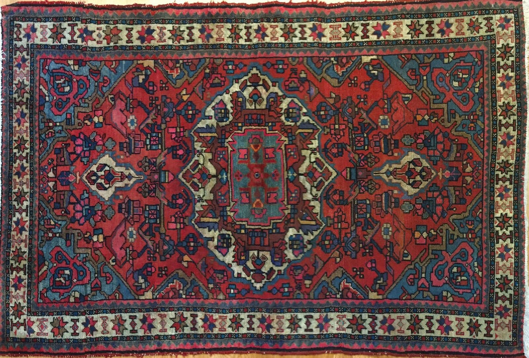 Beautiful Bakhtiari - 1940s Antique Persian Rug - Tribal Carpet - 3'9