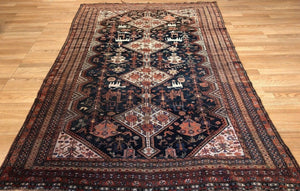 "Quality Qashqai - 1900s Antique Shiraz Rug - Tribal Carpet - 4'7"" x 7'5"" ft."
