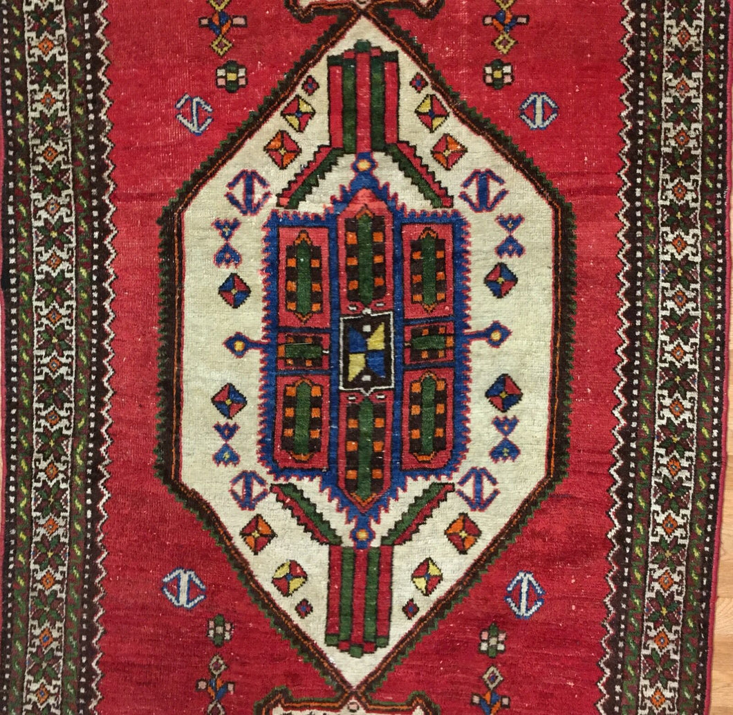 Terrific Tribal - 1940s Antique Kurdish Rug - Persian Carpet - 4'4