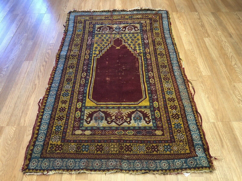 "Terrific Turkish - 1900s Antique Anatolian Rug - Prayer Design - 3'5"" x 5'4"" ft."