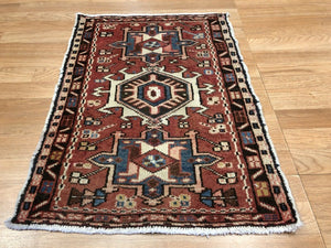"Handsome Heriz - 1930s Antique Karaja Rug - Tribal Carpet - 1'10"" x 2'7"" ft."
