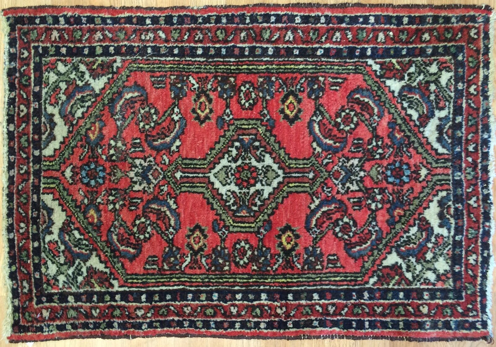 "Handsome Hamadan - 1940s Antique Persian Rug - Tribal Carpet - 2'1"" x 3'1"" ft."