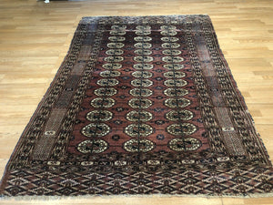 "Tremendous Turkmen - 1920s Tekke Gul Bokhara Rug - Tribal Carpet - 5'1"" x 7'4"" ft"