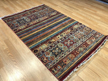 "Load image into Gallery viewer, Amazing Afghan - Super Kazak Rug - Tribal Jajim Carpet - 3'3"" x 4'10"" ft."