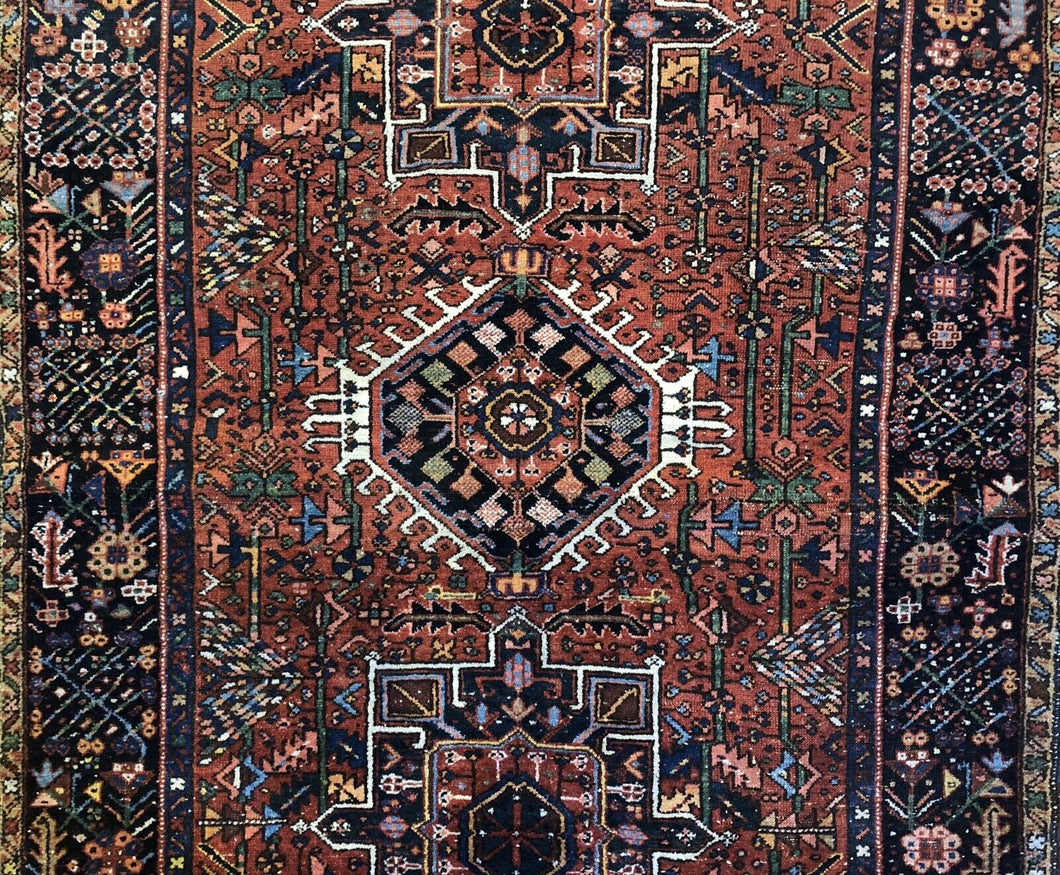 Handsome Heriz - 1930s Antique Karaja Rug - Tribal Carpet - 4'4