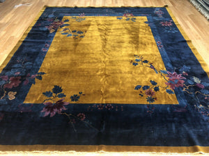 "Antique Art Deco - 1920s Mandarin Rug - Chinese Oriental Carpet - 8'1"" x 9'6"" ft"