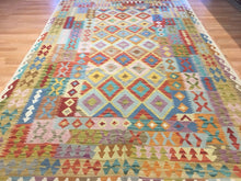"Load image into Gallery viewer, Crisp Colorful - New Kilim Rug - Flatweave Tribal Carpet - 6'6"" x 10'3"" ft."
