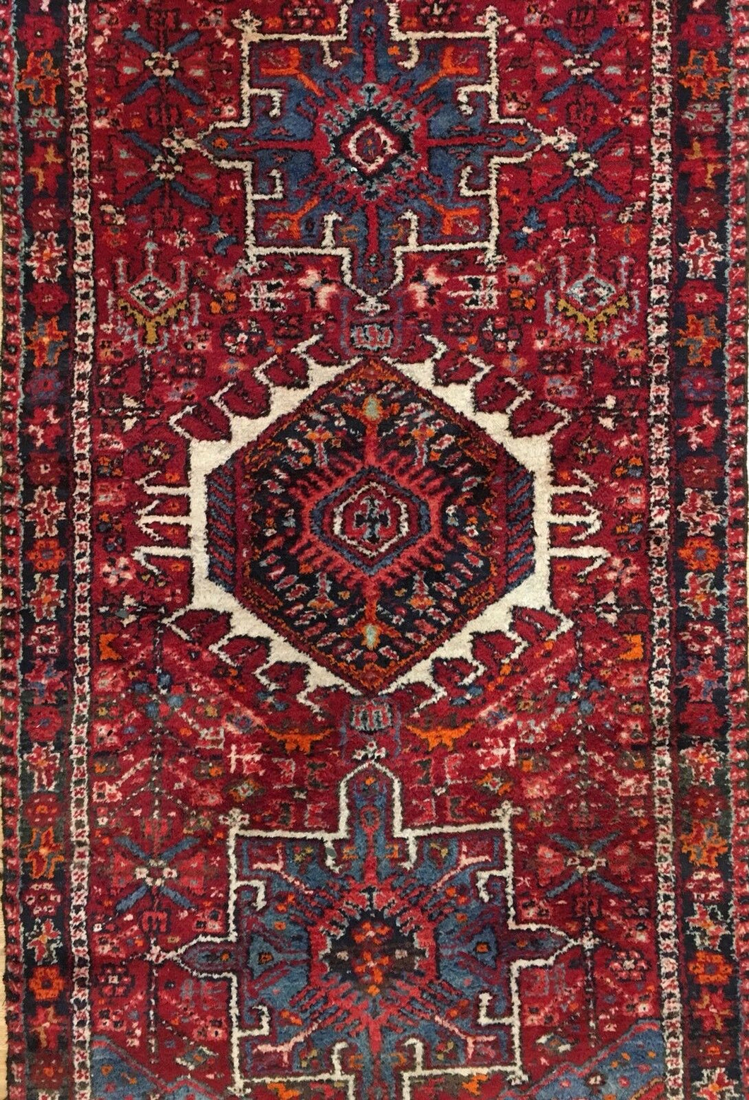 Handsome Heriz - 1940s Antique Persian Runner - Tribal Rug - 3'2