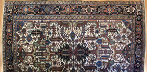 "Handsome Heriz - 1920s Antique Persian Rug - Tribal Carpet - 7'5"" x 9'6"" ft."